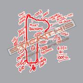 Larko Bathurst Mount Panorama Map - Red with White Medium