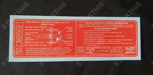 Vehicle Emission Control Information & SRS Decal LY - VT Series 1 5.0L V8
