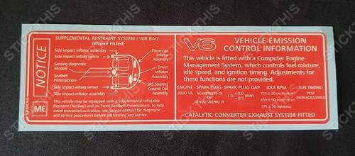 Vehicle Emission Control Information & SRS Decal ME - VT V6