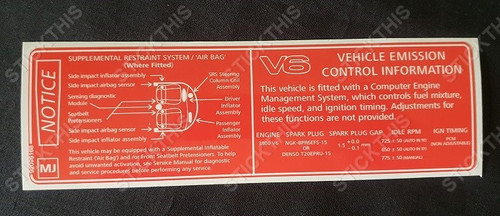 Vehicle Emission Control & SRS Decal MJ - Export V6 2000-2002 Chevrolet Caprice, Lumina, Omega, Pontiac