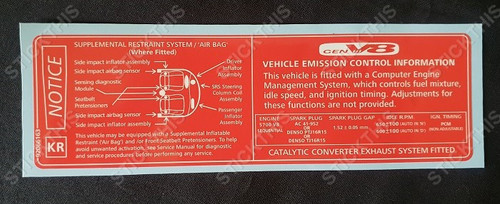Vehicle Emission Control & SRS Decal KR - Export V8 LS1 1999-2002 Chevrolet Caprice, Lumina, Omega, Pontiac
