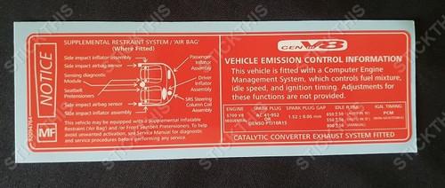 Vehicle Emission Control & SRS Decal MF - VT VU V2 VX WH V8