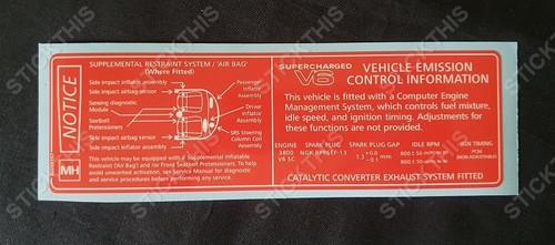 Vehicle Emission Control Information & SRS Decal MH - VT VU V2 VX WH V6 L67 Supercharged