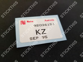 Radiator Parts Picking Label VS III V8 Ute - KZ 92036151 (your date)