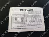 Tyre Placard - 9941507DG - Torana LX 4cyl S SL and 6cyl S