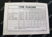 Tyre Placard - 9941509DJ - Torana LX 6cyl SLR, SS and 8cyl S SL