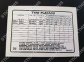 Tyre Placard - 9945287 DN - Torana LX V8 SS, SLR, SLR5000