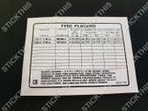 Tyre Placard - 92001184 CB - Torana UC SL,  Alloy Wheels