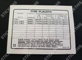 Tyre Placard - 92001185 CA - Torana UC S