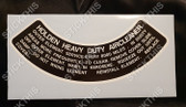 Air Cleaner Decal - HD HR HK HT HG HQ HJ HX HZ 6 Cylinder Heavy Duty