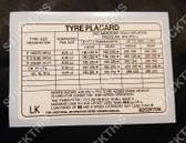 "Tyre Placard - Holden VL Sedan 14"" or 15"" or Wagon 15"" Steel Wheels Decal 92031706 LK"