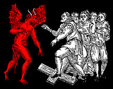 Devil & Witches Trampling a Cross T-Shirt