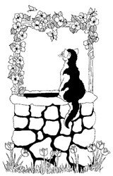Wishing Well Cat Rubber Stamp - 108A05