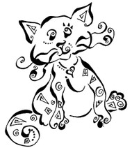 Southwest Cat Rubber Stamp - 92A05