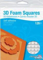 "White 3D Foam Squares 1/2"""