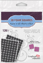 """Black 3D Foam Squares 1/2"""""""