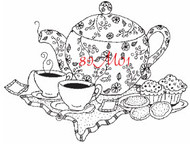 Tea Party Rubber Stamp - 89M01