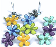Mini Bright Stitched Flower Brads