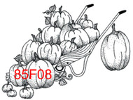 Pumpkins in Cart Rubber Stamp - 85F08