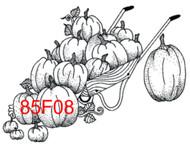 Pumpkins in Cart Rubber Stamp - 85F08