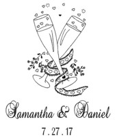 Custom Wedding Champagne Rubber Stamp