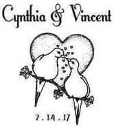 Custom Wedding Love Birds Rubber Stamp