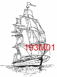 Sailing Ship Rubber Stamp - 193M01