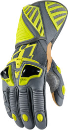 Icon Hypersport Pro Long Gloves - Hi-Viz Yellow and Grey