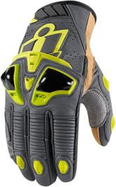 Icon Hypersport Pro Short Gloves - Hi-Viz Yellow and Grey