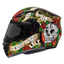 MT Revenge Skull and Roses Helmet - Black / Red