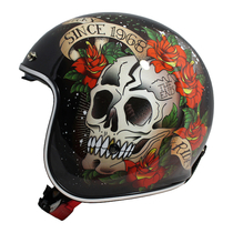 MT Le Mans 2 SV Skull and Roses Helmet - Black / Red