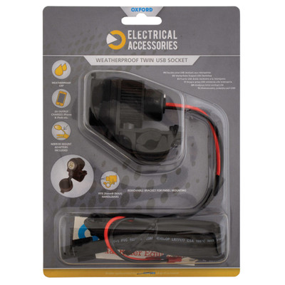 Oxford Dual USB socket (5V 2Amp) & 10amp fused 1.2mtr loom