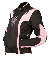 ARMR Moto Jojo Ladies Textile Motorcycle Jacket - Black / Pink