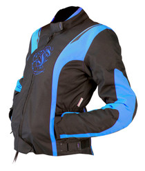 ARMR Moto Jojo Ladies Textile Motorcycle Jacket - Black / Baby Blue