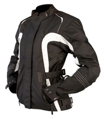 ARMR Moto Atsu Ladies Textile Motorcycle Jacket - Black / White