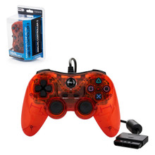 PS2 Analog Rumble Controller Pad - Clear Red (TTX Tech)