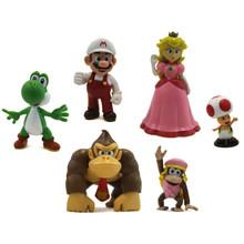 Fire Mario, Peach, and Friends - Super Mario Mini Figures 6 Pack