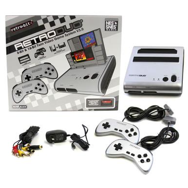 SNES & NES Retro Duo Console System - Silver Black (Retro-Bit)