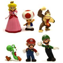 Mario, Peach, and Friends - Super Mario Mini Figures 6 Pack
