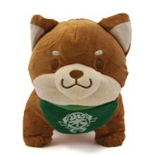 "Brown Pup, Green Bib - Shiba Inu 8"" Plush"