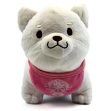 "White Pup, Pink Bib - Shiba Inu 8"" Plush"