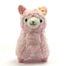 "Pink Alpaca with Hair Bow - 7"" Alpaca Plush"