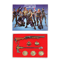Gun, Axe, Rings - Fortnite 7 Pcs. Pendant & Keychain Set