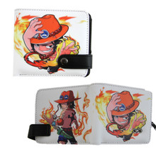"""Chibi Portgas D. Ace - One Piece 4x5"""" BiFold Wallet With Button"""