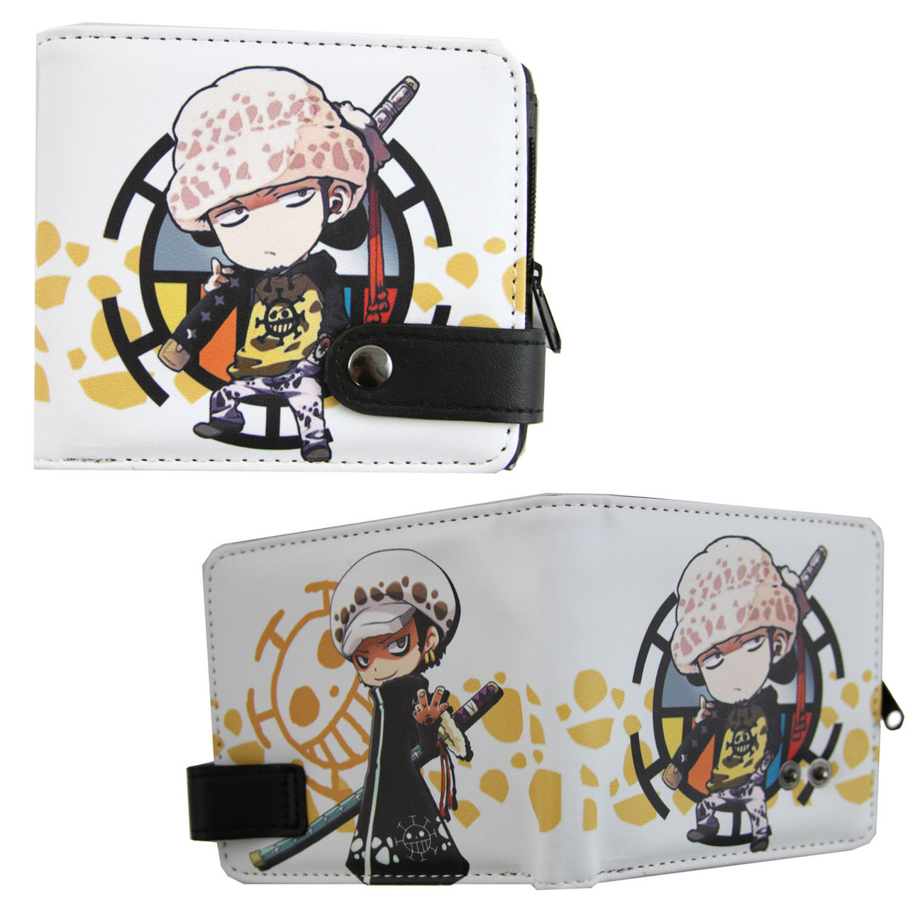 One Piece Leather pu Wallet Trafalgar Portgas·D· Ace Short Purse Otaku Gift New
