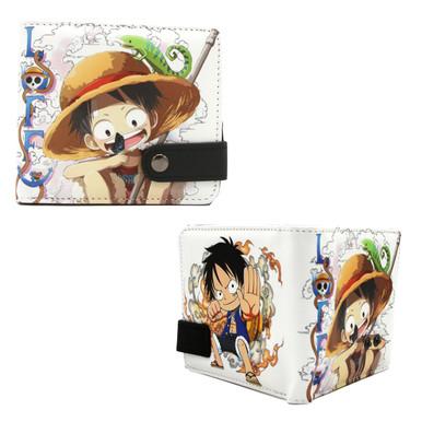 "Chibi Monkey D Luffy- One Piece 4x5"" BiFold Wallet With Button"