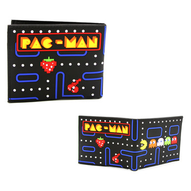 """PacMan and Ghosts- Pac-Man 4x5"""" BiFold Flat Wallet"""