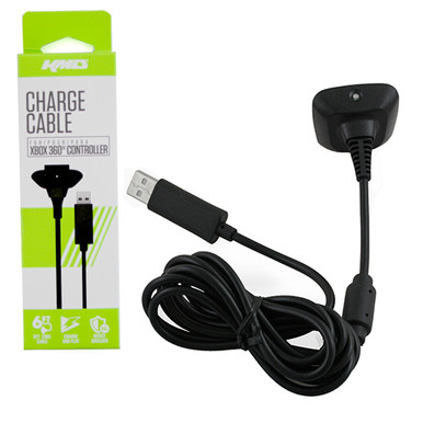 Xbox 360 Controller USB 6' Charge Cable - Black (KMD) KMD-360-9326