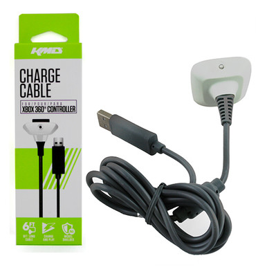 Xbox 360 Controller USB 6' Charge Cable - White (KMD) KMD-360-6693