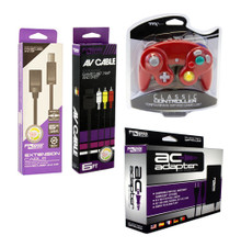 Gamecube AC Adapter, AV Cable, Extension Cable & 1 Red Controller
